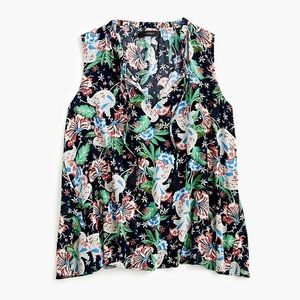 J. Crew Drapey Tie Front Top in Island Floral